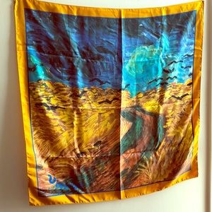 """NWOT Van Gogh's """"Wheatfield with Crows"""" on scarf"""